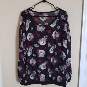Torrid Sheer skull and Rose's long sleeve blouse